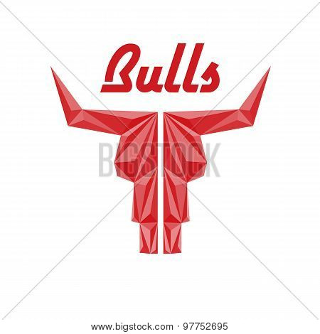 Skull Of Bull, Triangle With Faceted Effects, Abstract Logo Of Company Or Sport Club