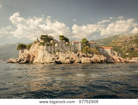 Sveti Stefan, small islet and resort in Montenegro.  Europe. Beauty world.