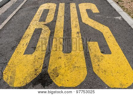 City bus transport lane sign on the asphalt road.