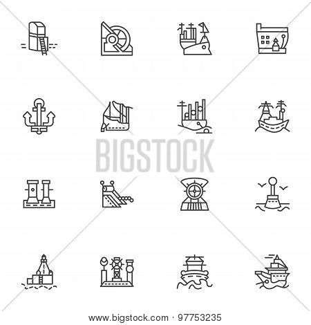 Simple line vector icons for ships and sea ports