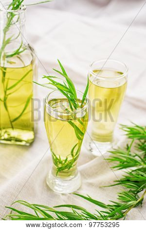 Bright Summer Drink Tarragon In Glass Bottles And Glasses
