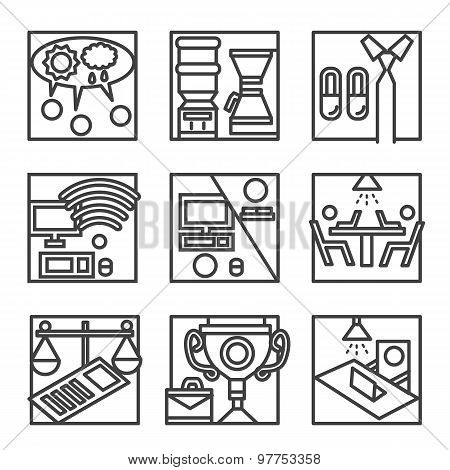 Simple line vector icons for co-working