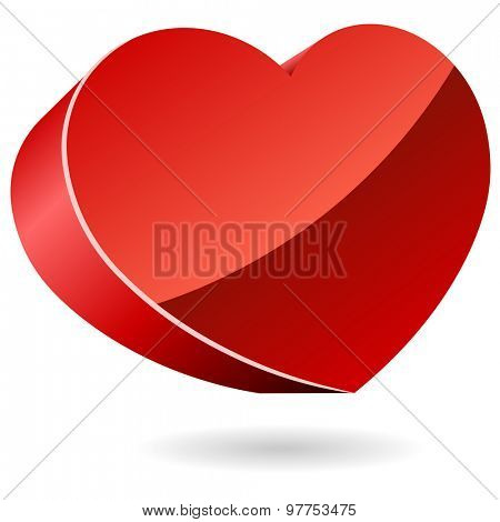3D red heart icon isolated on white.