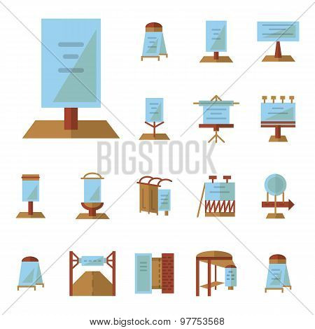 Advertising boards flat vector icons