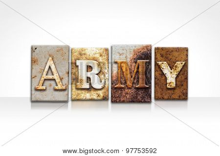 Army Letterpress Concept Isolated On White