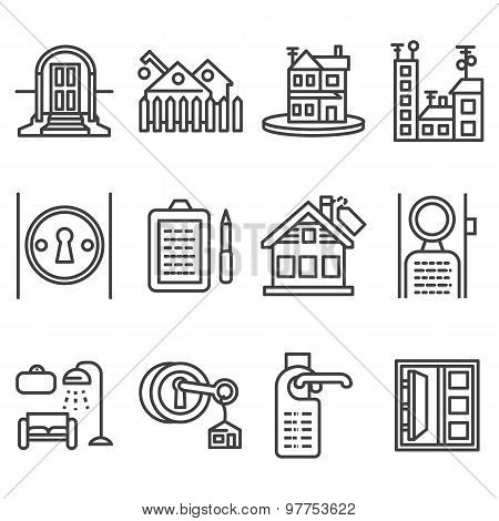 House rent black line vector icons