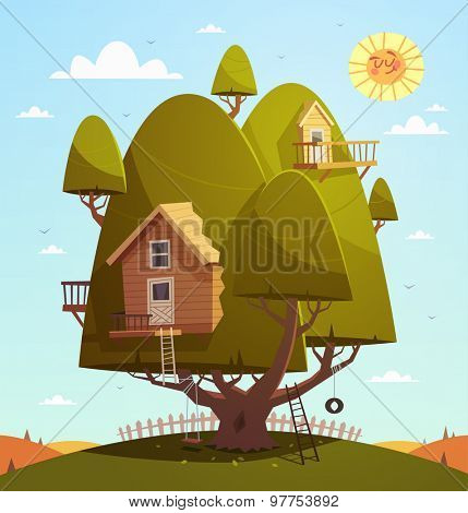Tree house. Kids background. Vector illustration.