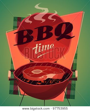 BBQ time. Vector illustration.