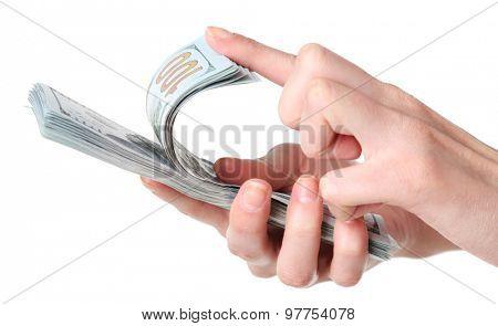 Female hands holding dollars isolated on white