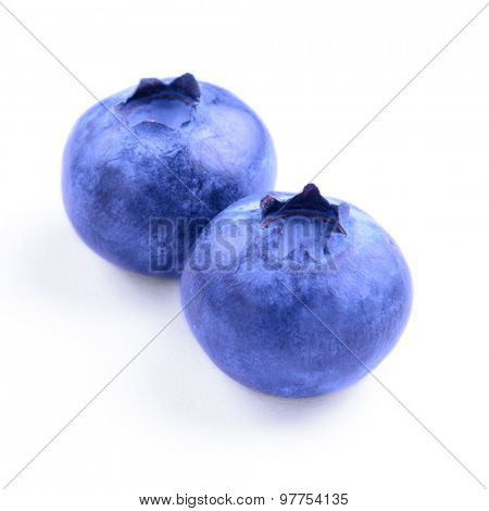 Group of Fresh Sweet Blueberries Isolated on the White Background