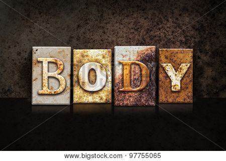 Body Letterpress Concept On Dark Background