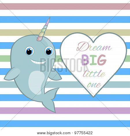 Nursery wall art Nursery room wall decor Baby narwhal with rainbow horn