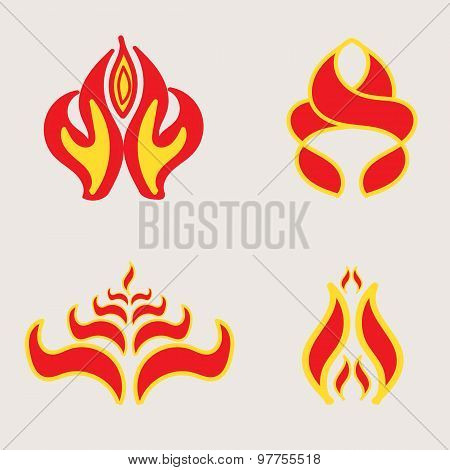 Set Of 4 Icons Fire