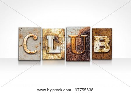 Club Letterpress Concept Isolated On White