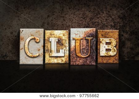Club Letterpress Concept On Dark Background