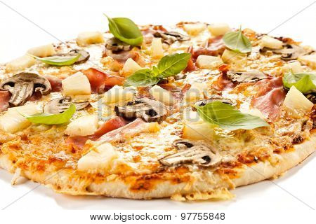 Pizza Hawaii on white background