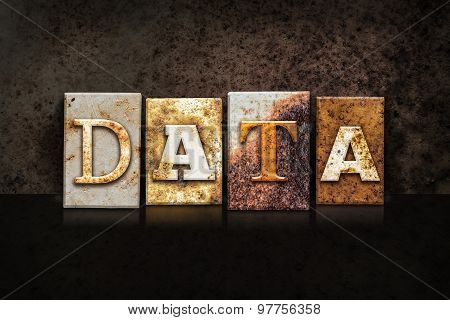 Data Letterpress Concept On Dark Background