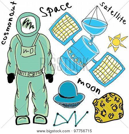 Drawn colored cosmonaut