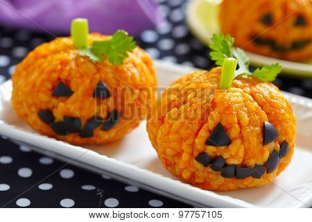 Pumpkin Rice Ball Jack O Lanterns