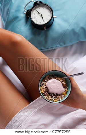 Woman Eating Healthy Breakfast