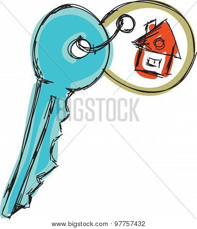 Drawn colored house key