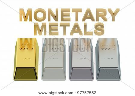 Set Of Monetary Metals Ingots