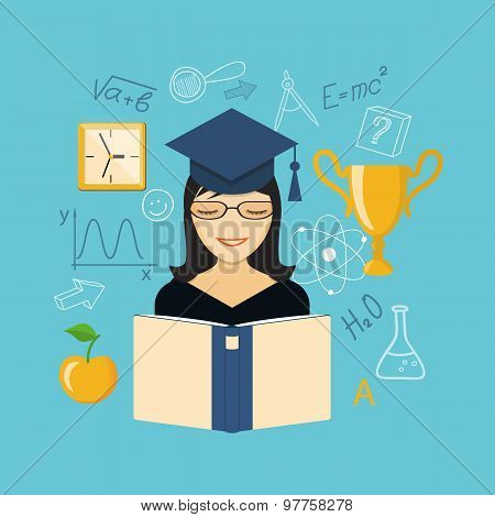 Flat Design  For Education Time