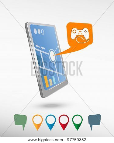 Joystick Icon And Perspective Smartphone Vector Realistic