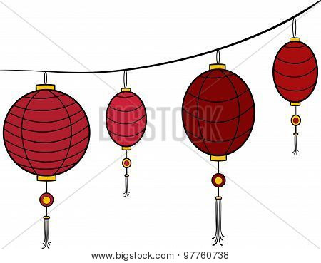 Vector red carnival chinese hanging lanterns