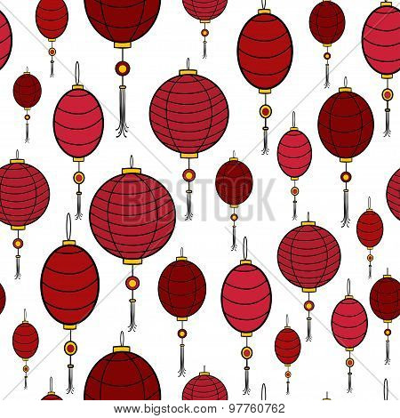 Vector seamless pattern of carnival chinese hanging lanterns