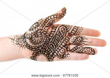Image of henna on female hand isolated on white