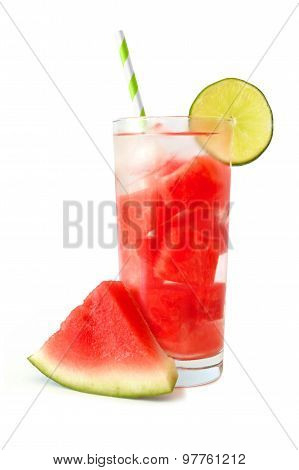 Watermelon lime water isolated on white with melon slice