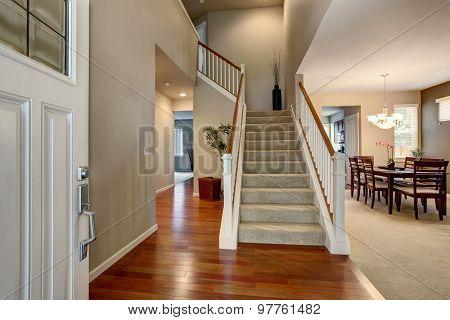 Modern Entry Way In Northwest Home.