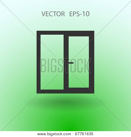 Flat long shadow Window icon, vector illustration