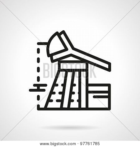 Oil rig flat line vector icon