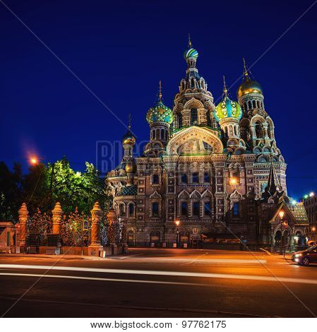 Church of the Savior on Spilled Blood at night in Saint Petersburg