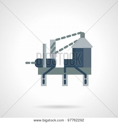 Oil drilling rig flat vector icon