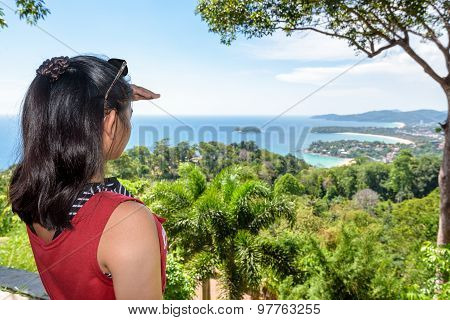 Woman Tourist On High Scenic View