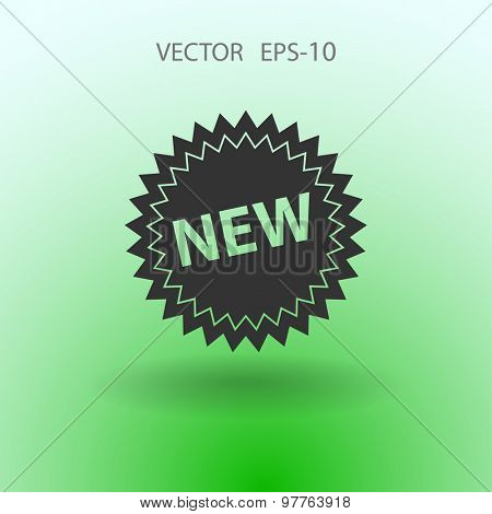 Flat long shadow New label icon, vector illustration