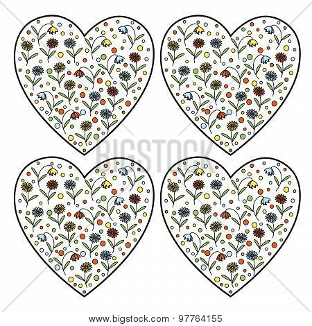 Set Of Vintage Vector Heart Stamps With Daisy Flowers And Bellflowers Inside