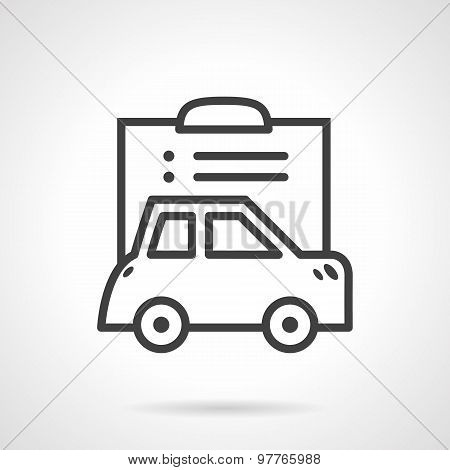 Simple line vector icon for car paperwork