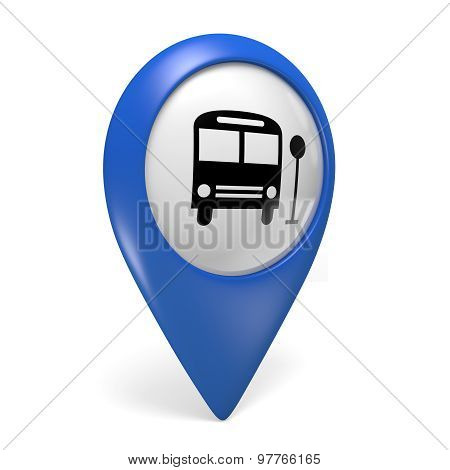 Blue map pointer 3D icon with a bus symbol for public transportation