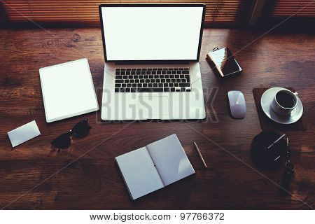 Mock up of business person desktop with luxury accessories and distance work tools