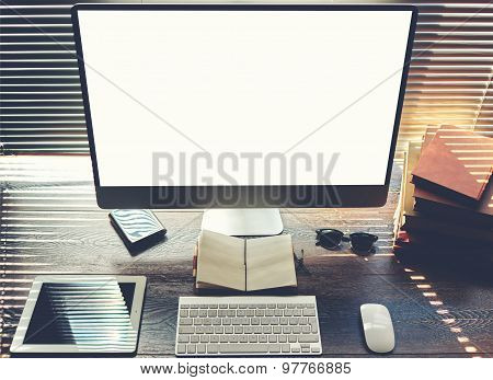Mock up of office or home desktop with accessories and work tools