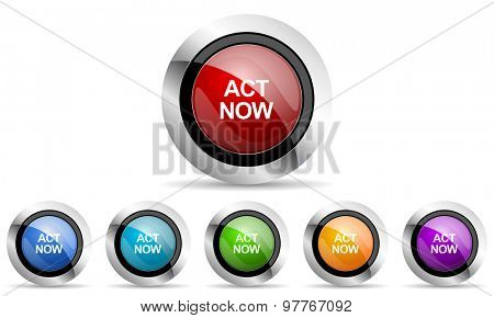 act now original modern design colorful icons set for web and mobile app on white background