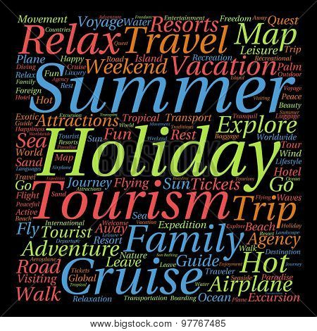 Concept or conceptual abstract summer travel or tourism word cloud or wordcloud isolated on background