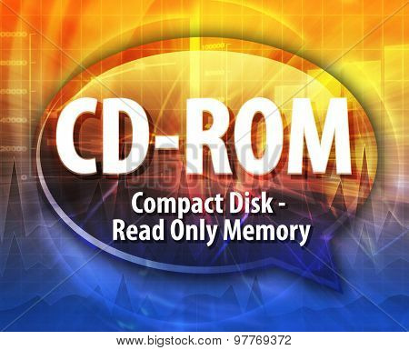 Speech bubble illustration of information technology acronym abbreviation term definition CD-ROM compact disk read only memory
