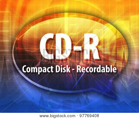 Speech bubble illustration of information technology acronym abbreviation term definition CD-R Compact Disk Recordable