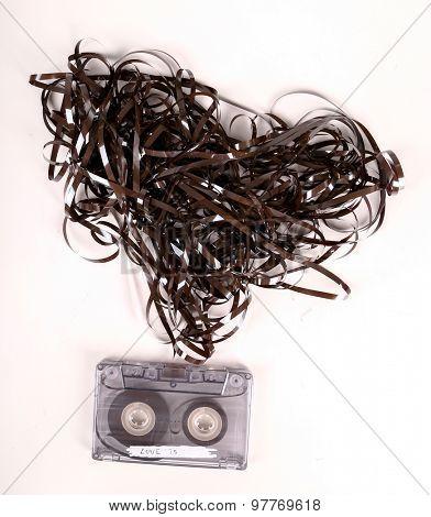 Retro, vintage. Cassette on the table