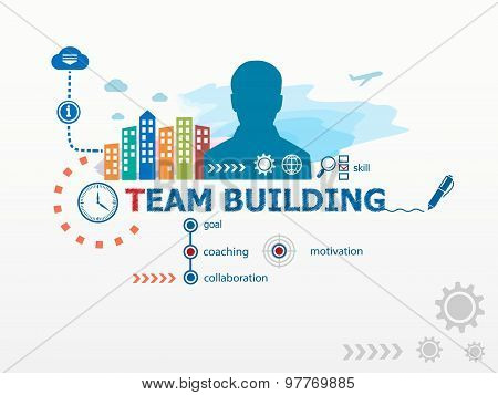 Team Building Graph Concept And Business Man.